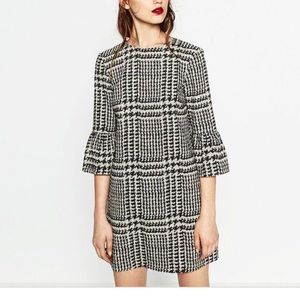 Zara Houndstooth Shift Dress with Bell Sleeves